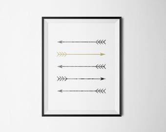 Arrow Printable, Gold Minimalist, Tribal Arrows, Golden Arrow, Yellow and Gray Art Bathroom, Gold Tribal Wall Hanging, Silver Arrow Wall Art