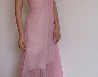 Vintage 1970s Babydoll Pink See Through Sheer Slip Dress / Maxi / Lingerie / 34B Bust / Small - Medium