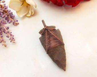 copper wire wrapped arrowhead-rustic jewelry-wire weave jewelry-boho jewelry-Melissa Wood Jewelry-arrowhead pendant-copper necklace