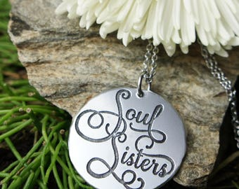 Soul Sisters necklace, Best friend Birthday gift, Bff Bestie sister friendship jewelry, long distance relationships, boho chic pendant,