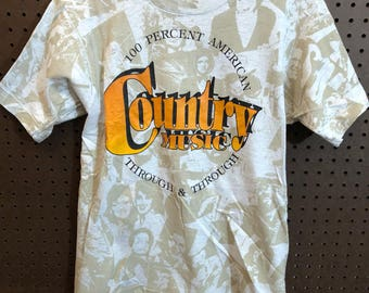 1990s Country Music 100% American Shirt Vintage Small / Medium (see description) All Over Print