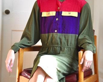 Vintage 80s Colorblock Long Sleeve Knee Length Dress, Medium