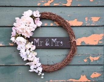 Wedding wreath, rustic wedding decor, silk flower wreath, white silk flowers, front door wreath, natural wreath, artificial flowers, floral