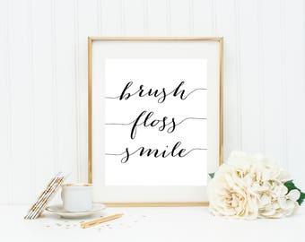 Escape The Bathroom Dental Floss brush floss smile | etsy
