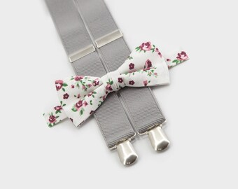 boys bow tie suspenders floral bow tie & light gray suspenders groomsmen outfit