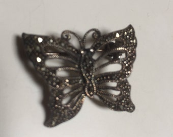 DBJ Sterling Silver Marcasite Butterfly Pin Brooch