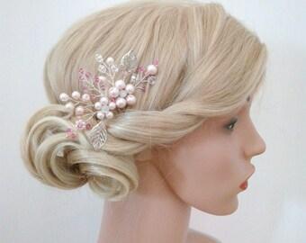 Blush Bridal Hair Comb, Blush Bridal Hair Piece, Blush Pink Hair Comb for Wedding hair Comb, Pink hair Accessories, Silver, Pink Headpiece