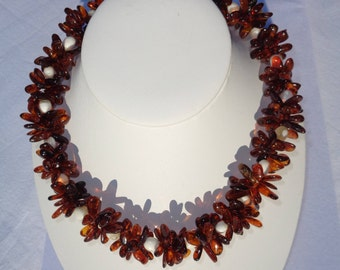 NATURAL High Quality BALTIC AMBER Beads Necklace Statement Necklace Cognac 50.9 grams