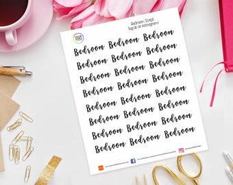 Bedroom Planner Stickers for Erin Condren Life Planner, Kikki K, Happy Planner, Kate Spade, Filofax, words, text, script, housework, clean