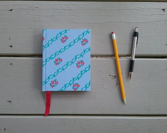 Red Floral Pattern Handmade Hardcover Journal/Notebook - 4.25x5.5 - Blank, 120 pages - Ribbon page marker