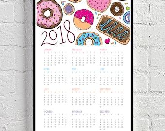 DONUTS 2018 CALENDAR / 11x17 Wall Art Print