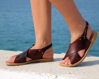 Leather Sandals, Full Grain Leather Women Sandals - Waxed Dark Brown color, X shape sandals