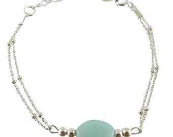 Chalcedony silver bracelet (made in France)