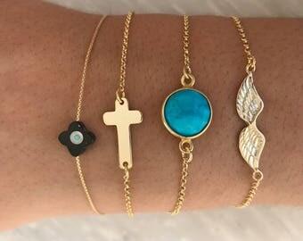 Cross Bracelet, Gold Cross Bracelet, Cross Jewelry, Evil Eye Bracelet, Turquoise Stone Bracelet, Wings Bracelet, From Sterling Silver 925