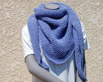 Lavender hand knitted shawl or scarf
