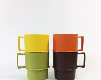 Vintage Tupperware mugs, stackabke mugs, from the 1970s