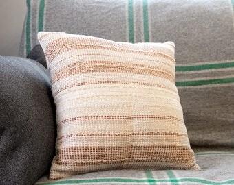 GORMANSTON Retro Cream Stripe Cushion Cover – Mid-Century Upcycled Vintage Fabric, Mod Throw Pillow, 70s Fabric, Retro Decor Upholstery