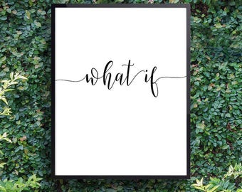 Spiritual gift ideas, Motivational wall decor, Prints and posters, Inspiring sayings 'What If' Modern home, Fast shipping to USA & UK