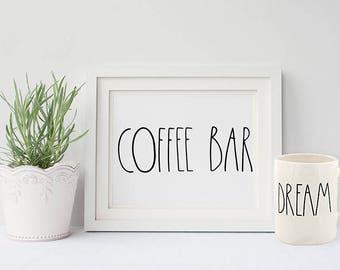PRINTABLE Art COFFEE Bar Sign 5x7 16x20 Rae Dunn Mug Inspiration Farmhouse Kitchen White Home Decor Coffee Quote Coffee Lover Print Download