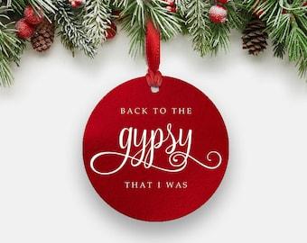Stevie Nicks GYPSY Ornament - FAUX Red Foil White Print Round Aluminum Metal Christmas Ornament, Fleetwood Mac Boho Gifts Stocking Stuffer