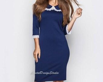 S-3XL Midi dress Dark blue Office dress Elegant Jersey dress casual wear Knee women's dress long sleeve Little black dress Day dress