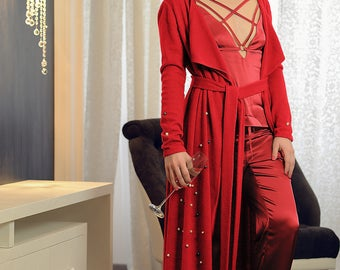 Real Pearls Embroidered SCARLET RED Cardigan, Angora Wool Maxi Cardigan, Wrap Maxi Dress, Made to Measure Cardigan, Plus Size Cardigan