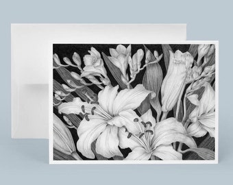 Graphite Flower Drawing, Fine Art Card, Black and White Greeting Card, Lilies and Freesia Drawing by Sally Jacobs,