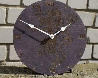 Game of thrones, House Lannister clock, Emblem of Lannister, GoT, Lion decor, Lannister Art, Game of Thrones Gift, men