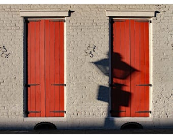 New Orleans photography, French Quarter, Louisiana, red shutters, door photography, gas lamp, NOLA art print, shadow dance, NOLA home decor