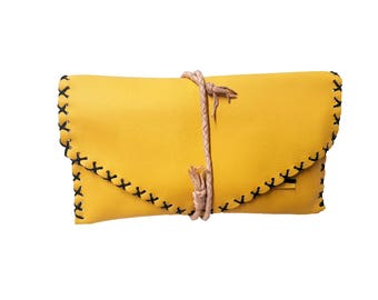 Leather Tobacco Pouch | Yellow Tobacco Pouch | Bifold Tobacco Case | Tobacco Leather Bag | Up to 50gr