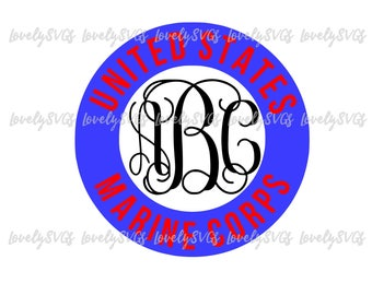 Instant Download SVG Studio3 - Marine Corps Monogram Frame Circle - PDF Jpeg - Silhouette Cricut