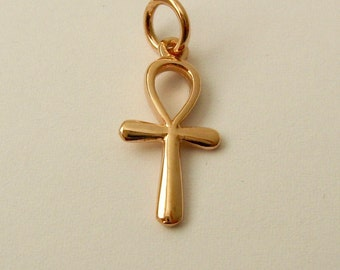 Genuine SOLID 9K 9ct ROSE GOLD 3D Ankh Key Of Life charm/pendant
