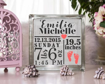 Baby Shower Glass Block, Personalized Glass Block, Glass Block Decal, Lighted Glass Block, Baby Decal, Custom Glass Block, Baby Shower Gift