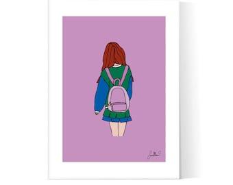 High School Cheerleader Poster / Teenager Art / Teen Girl School / High School Illustration / Printable / Instant Download / 2JPEG Files