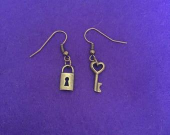 Padlock and key earrings / padlock jewellery / key jewelry