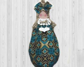 Ankara wax print, grocery bag dispenser, African wall decor, shopping bag holder, kitchen decor, aqua decor, kitchen storage, home decor