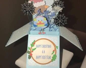 Christmas card, christmas pop up box card, Christmas greetings, Christmas cards, pop up box card, Christmas, seasonal cards