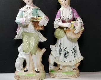 VINTAGE FIGURINES Mid Century Statues of Couple Country French Paris Apartment Shabby Cottage China Figurines