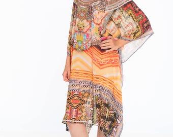 Plus size blouse, caftan dress, beach kaftan digital print tunic embellished beach sundress