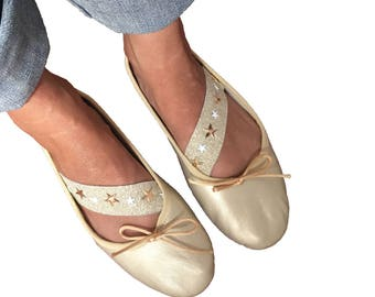 Ballerinas of skin with tape of studded star ballerinas Golden for women, modern silver ballerinas, ballerinas handmade