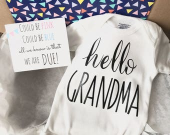Hello Grandma Pregnancy Announcement Onesie®  Gift Box Set / Bodysuit / Pregnancy Reveal / New Baby / Surprise Reveal / Gift For Mom