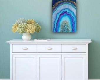 FREE SHIPPING II Geode Fine Art Resin Painting I Blue Purple Gold