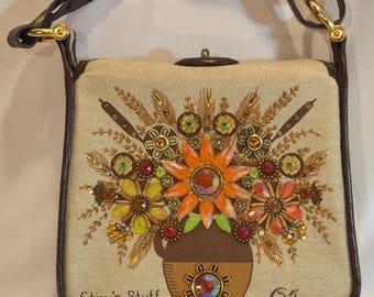 1960s Stix 'n Stuff Enid Collins Linen & Leather Rhinestone Flower Vase Handbag Purse