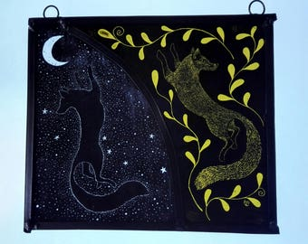 Day and night fox. Kiln fired stained glass panel.