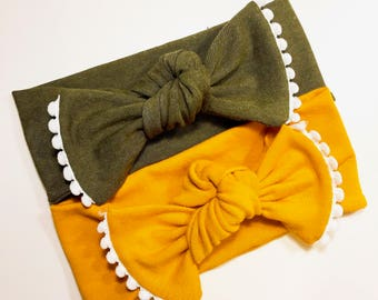 Pom/Olive Green/Mustard Yellow/Black/White/Navy/Hot Pink/Childs Headwrap/Headband/Adjustable/Jersey Knit/Soft/Knotted/Baby