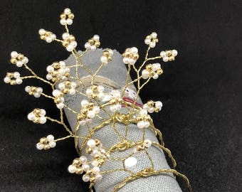 Elegant Stylish Gold Tone and Pearl  Napkin Rings - Set of 4