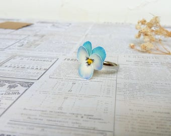 Pansy ring Real flower ring Floral ring Light blue Pansy floral jewelry Nature style Every day For girl For woman Polymer Clay flower