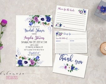 Purple Floral Bridal Shower Invitation Suite Boho Lavender Floral Bridal Invite Set Lilac Anemone Hydrangea Spring Bridal Invitation - BS035