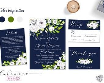 Navy White Floral Wedding Invitation Suite Printable White Peony Spring Wedding Invite Set Boho Fall Floral Digital Summer Invite - WS050