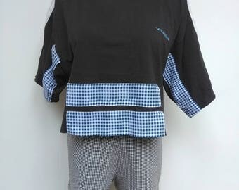 Black Gingham Diadora T-shirt - Stripe Patch Blue - Size L 12 14
